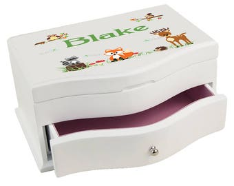 Personalized Green Forest Animal Deluxe Jewelry Box Critters Deer Fox Owl Forest Woods Owls Racoon jewef-218