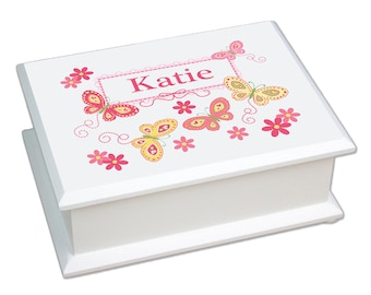 Personalized Lift Top Jewelry Box with Yellow Butterflies Design-jeweb-300d