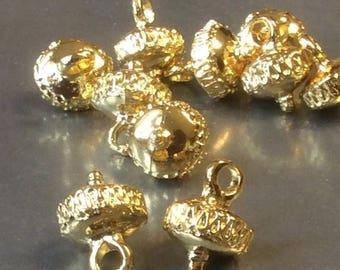 ON SALE Greek Gold Casting Ornamental Saucer Pendant Drop 14mm X 15mm Qty 1