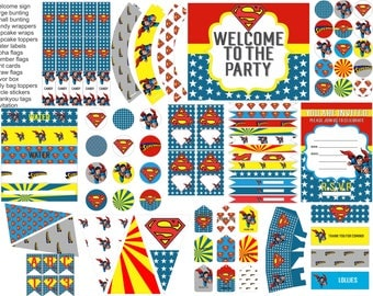 Superman party printables, superman party decorations, everything you need for your superman party