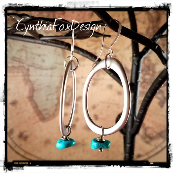 Brushed Silver and Turquoise Boho Hoops