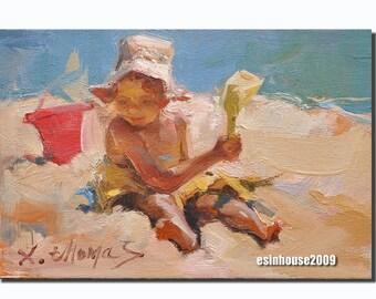 Original oil painting Beach girl 12 x18cm by X.thmoas