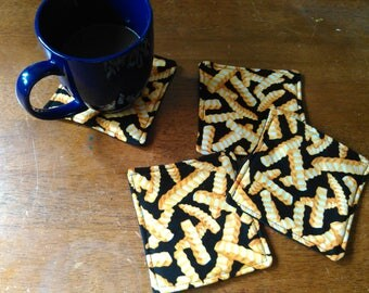 Set of 4 French Fry Reversible Coasters
