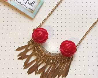 Red Rose and Gold Necklace. Gold Bib Necklace.