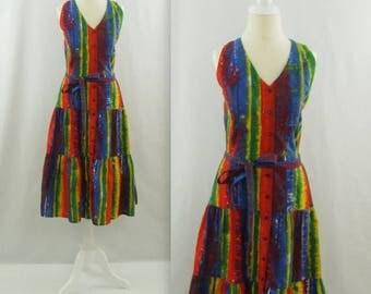 SALE Caribbean Escape Midi Summer Dress - Vintage 1980s Colorful Drop Waist Sundress in Small Medium
