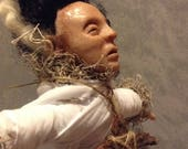 Voodoo Doll / Bride of Frankenstein / handmade voodoo doll / movie monster classic / Item RESERVED for Emanuel Gambino