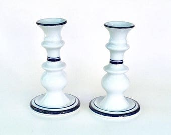 Vintage Dansk Bistro Christianshavn Blue Candlesticks, Candle Holders, Pair, Blue and White