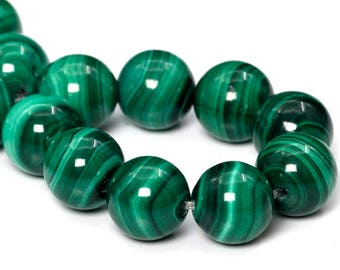 "9-10MM Malachite Beads South Africa Grade AAA Genuine Natural Gemstone Half Strand Round Loose Beads 3"" BULK LOT 1,3,5,10,50 (101766hf-414)"
