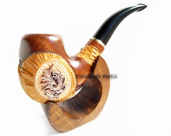"""Pipe Set - Carved """"METAL DRAGON"""" Pipe & Stand , Wooden pipe. Tobacco Pipe Exclusive Design For pipe Smokers."""