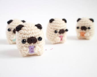 alphabet pug amigurumi - customizable crochet pug plush