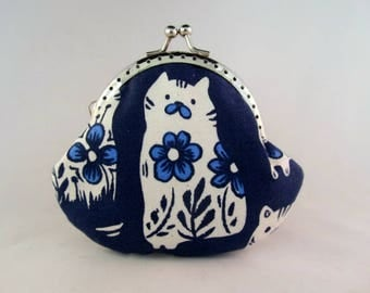 Cats Navy Blue Cute Coin Purse - Change Purse - Coin Pouch - Change Pouch - Kiss Lock Coin Purse - Metal Frame Purse