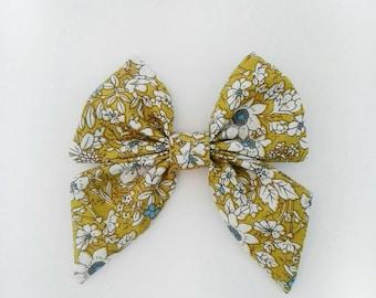 Girl's mustard olive floral hair bow clip girls vintage modern