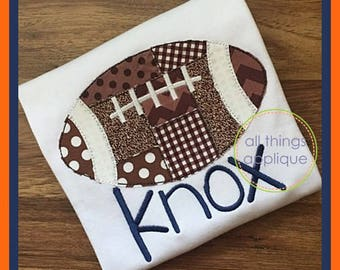 Patchwork Football Applique Design - Bean Stitch (#984) - Machine Embroidery Applique Design - 4 Sizes - INSTANT DOWNLOAD