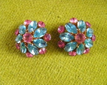 Juliana Clip Earrigs, Pink and Aqua.