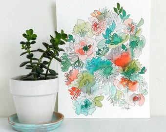 Jungle Flowers Painting, original watercolor painting, watercolor flowers, 11x14, floral painting, ink illustration, floral illustration