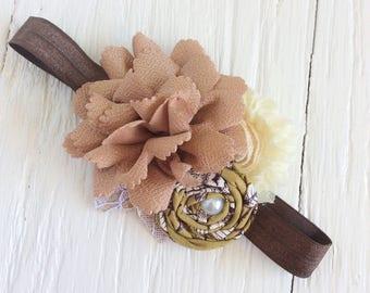 olive taupe ivory baby girl headband toddler headband flower headband matilda jane m2m flower infant newborn headband