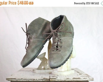 SALE Vintage 70's Austrian Olive Suede Leather Ankle Boots