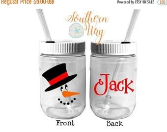 Plastic Mason Jar Cups - Penguin - Winter Party - Personalized Party Favor - Winter Wonderland - Snowman - Kids Party Favor
