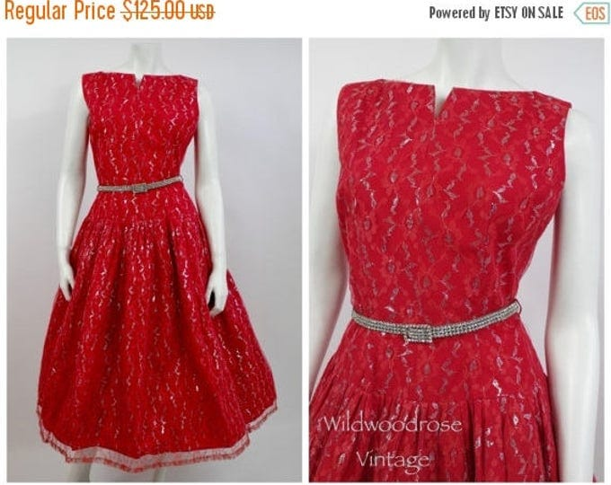 SUMMER SALE 1950's Red Lace Tea Dress - Christmas - Chantilly Lace  - 50's Cocktail Dress - Pin Up Girl - Vintage Prom  - Valentine's Day