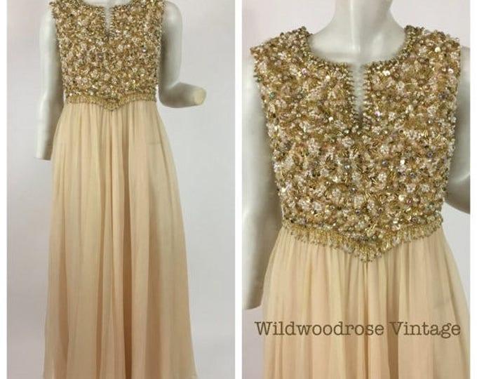 SUMMER SALE Vintage 60's to 70's Hand Beaded Peach Silk Crinkle Chiffon Evening Gown - Vintage Sheath Wedding Dress - Bonnie Original - Plus