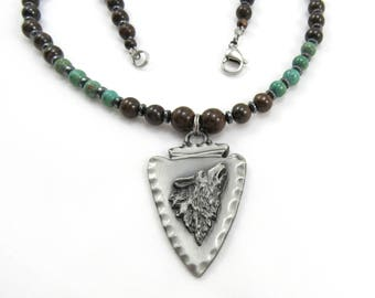 Men's Jewelry, Semi-Precious Gemstone Beaded Necklace, Arrowhead Pendant with Wolf Head, Native American Jewelry for Man