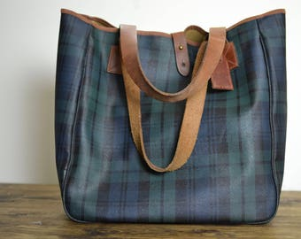 Vintage XL Ralph Lauren Leather Tote Handbag // Blackwatch Tartan Navy Plaid Bag