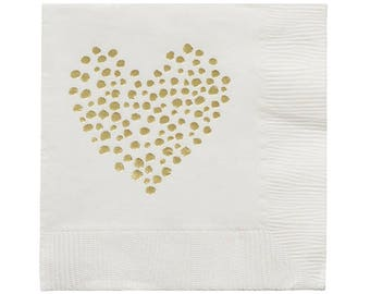 DOTTED HEART Gold Foil Napkins (20 count)