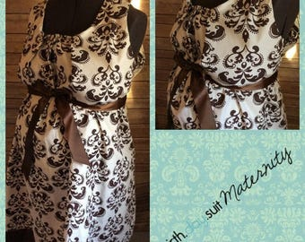 Memorial Day Sale! Maternity Hospital Gown- brown damask