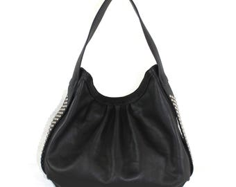 Cienega Stud Hobo Bag in Black Leather