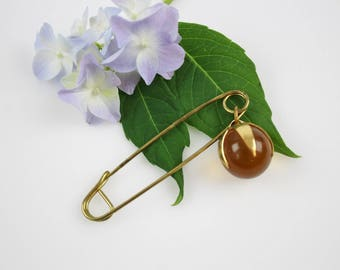 Large Vintage Safety Pin - Brass Kilt Pin - Clothing Accessory Skirt Pin Glass Marble Hat Pin