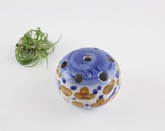 Vintage Italian Pottery Flower Frog - Hand Painted Flower Arrangement Decoration