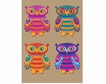 Four Owls Greeting Card
