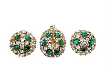 Vintage Volupte Ladybug Pendant & Clip Earring Set // Mid-Century Signed Demi Parure with Clear, Blue, Green Rhinestones, Goldtone Metal