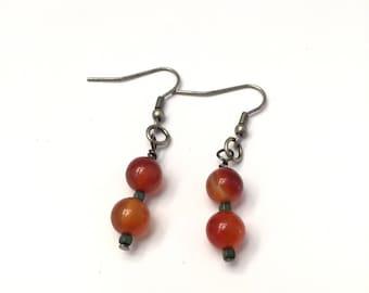 Agate and Hematite Dangle Earrings