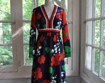 Bright Bold Designer Flower Power Print Maxi Dress/Vintage 1960s/Red White and Blue 4th of July/Tori Richard Resort Wear/S