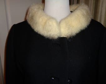 Vintage Classic Black Wool Three Quarter Sleeve Full Length  Coat with wonderful White Mink Collar in Near Mint Condition, Union Made USA