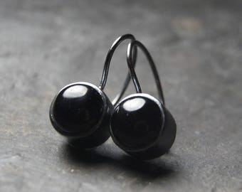 Black Onyx Drop Earrings in Oxidized Sterling Silver