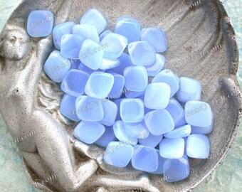 Vintage Glass Beads, 13 x 11 x 5mm Vintage Blue Opal Pressed Glass Beads, Blue Diamond Drop Vintage Beads VB-053