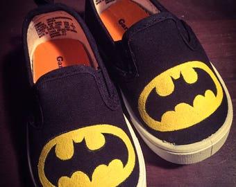 Batman Shoes! Toddler Size 4, Superhero DC Comics, Hand Painted