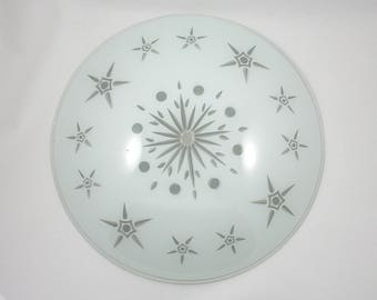 Vintage 1950s large round frosted glass light cover, stars, mid century lighting, star pattern, ceiling fixture, screw mount bullseye saucer