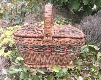 French Vintage wicker Basket with pink roses stencil