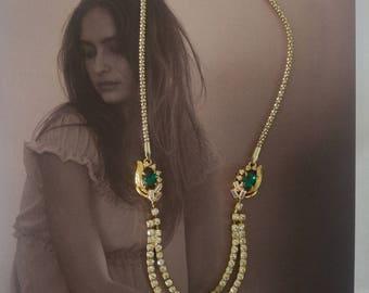 Vintage Jewelry 1920 Style Necklace,1920s Rhinestone Art Deco Necklace,Rhinestone,green Emerald Necklace,Vintage Gala Jewelry,Wedding themes