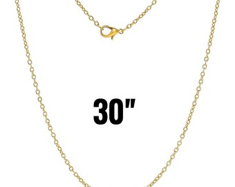 """48 Gold Necklaces - WHOLESALE - 3x2mm - Cable Chain - 30"""" - Ships IMMEDIATELY from California - CH540c"""