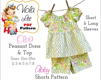Olivia Peasant Dress Pattern. Toddler Dress Pattern. Girls Sewing Patterns. Girls Dress Patterns. Long Sleeves & Short Sleeves. PDF Download