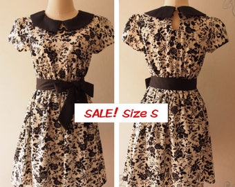 USD20 SALE -Size S- Black Dress Black Floral Dress Sundress with Collar and Sleeve Vintage Tea Party graduation Dress Modest Dress