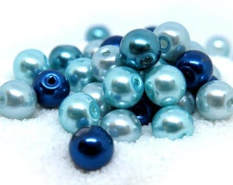 40 Pcs - Shades of Blue Assorted Color Glass Pearl Beads - 8mm in diameter, hole: 1.5mm