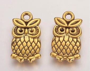 Gold OWL Charms / Pendants - Lead Free, Nickel Free, and Cadmium Free