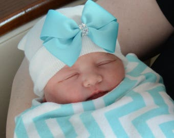 Newborn Hospital Hat for Girls Teal/Aqua Blue Grosgrain Bow (infant hat, newobrn hat with bow, newborn girl hat, infant beenie)