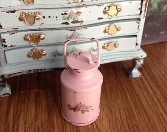 Dollhouse Miniature Shabby Chic Cottage Chic Vintage Style Milk Can with Roses Motif
