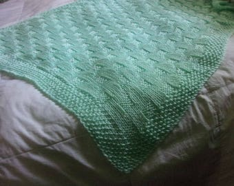 Hand knit Baby Blanket -Basket Weave Pattern - pastel mint green - ready to ship!